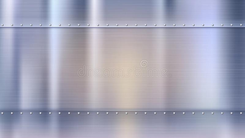 Metal background with texture and rivets, blurred reflections. Polished riveted metal sheets with place for text. Template for your poster, banner, cover art stock illustration