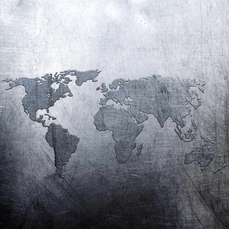 Free Metal Background World Map Royalty Free Stock Photo - 32933905