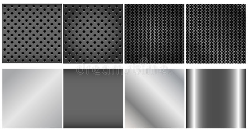Metal backgrounds set. Set of metal and grid backgrounds isolated on white vector illustration