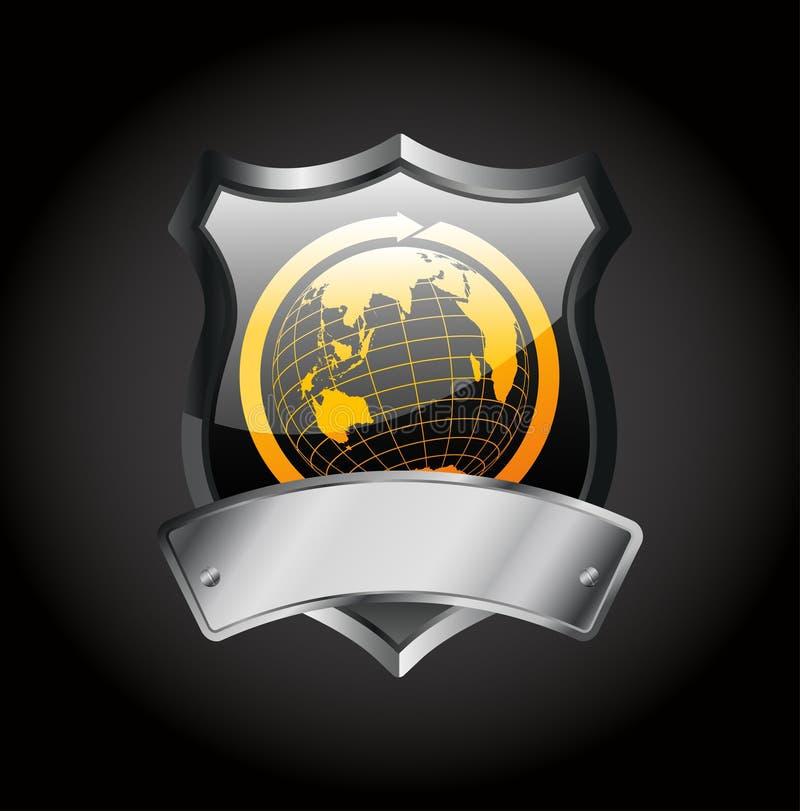 Metal Badge -globe Sign Stock Photo