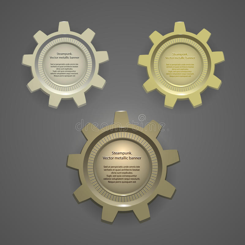 Metal banners, logos, tags in steampunk style stock illustration