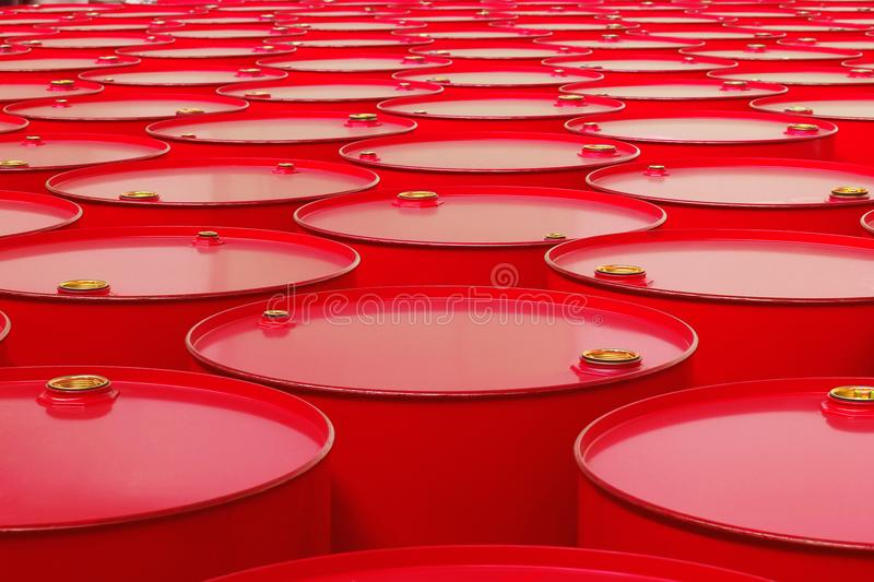 Metal barrels of red color. Background with barrels royalty free stock photo