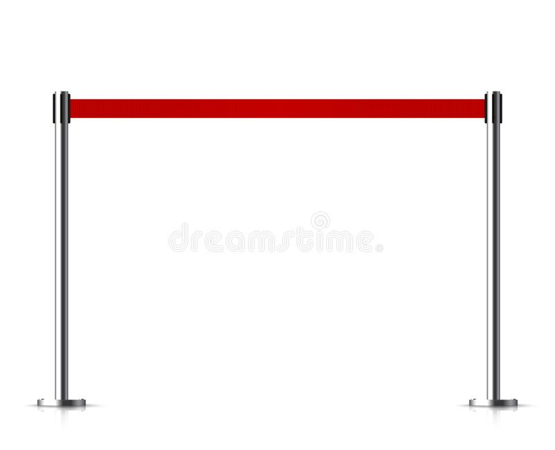 Metal barrier with a belt to control. Queue stock illustration isolated on white background vector illustration