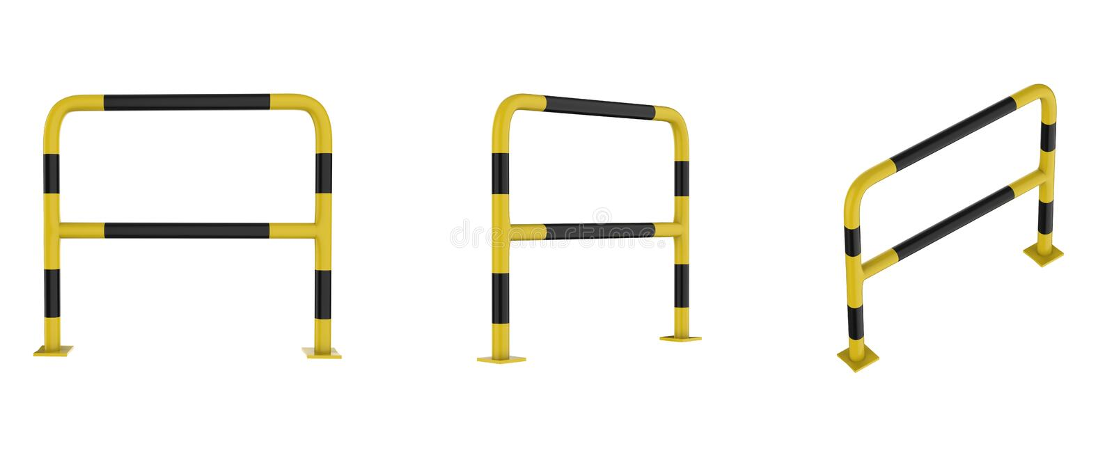 Metal barrier isolated. 3d rendering yellow and black metal barrier isolated on white royalty free illustration