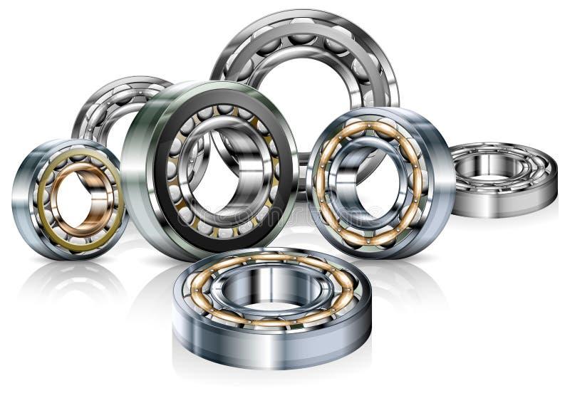 Metal bearings on white royalty free illustration