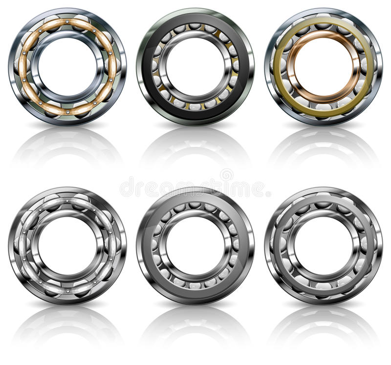 Metal Bearings On White Stock Images