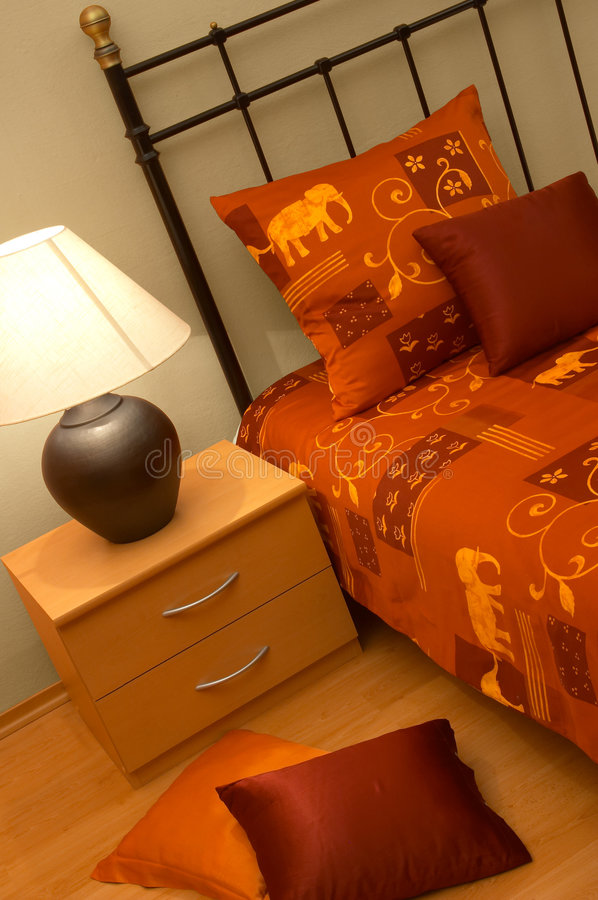 Download Metal bed with lamp stock photo. Image of bedding, covering - 5229902