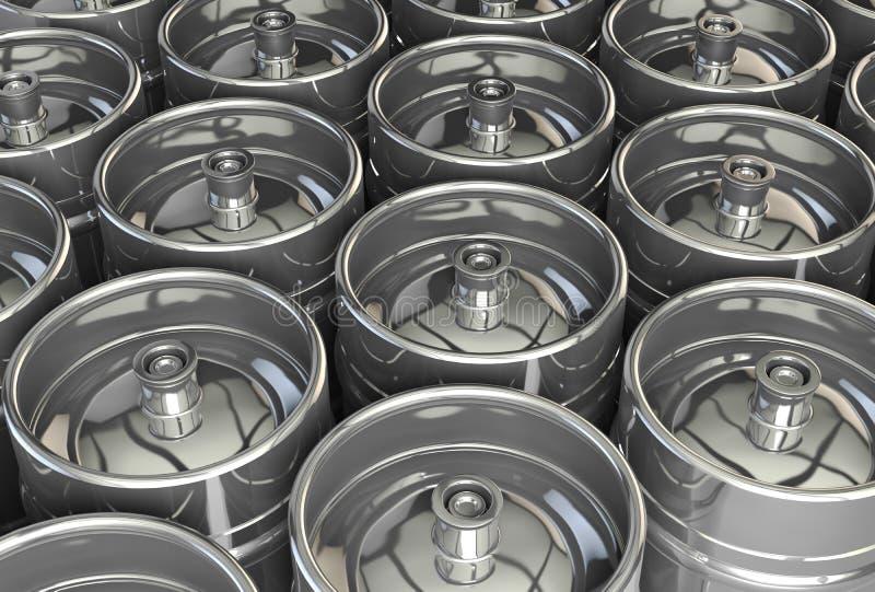 Metal beer kegs. 3d illustration royalty free illustration