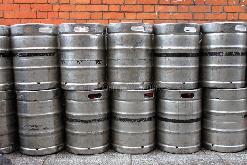 Metal beer kegs. At brewery stock photos
