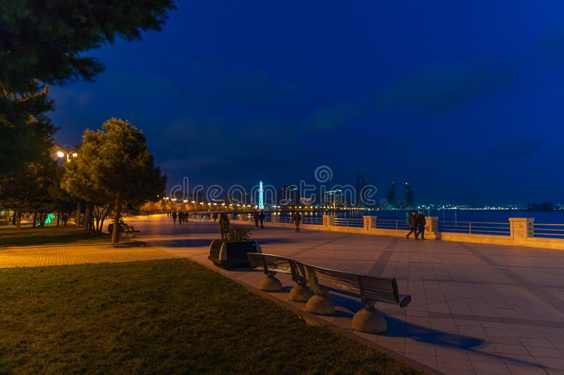 Metal bench on the embankment in Baku City royalty free stock images