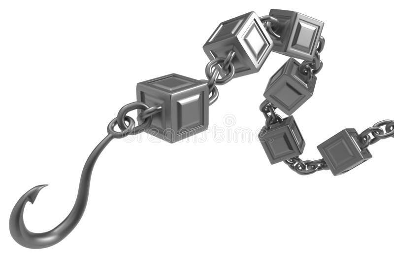 Block Chain Hook Metal vector illustration