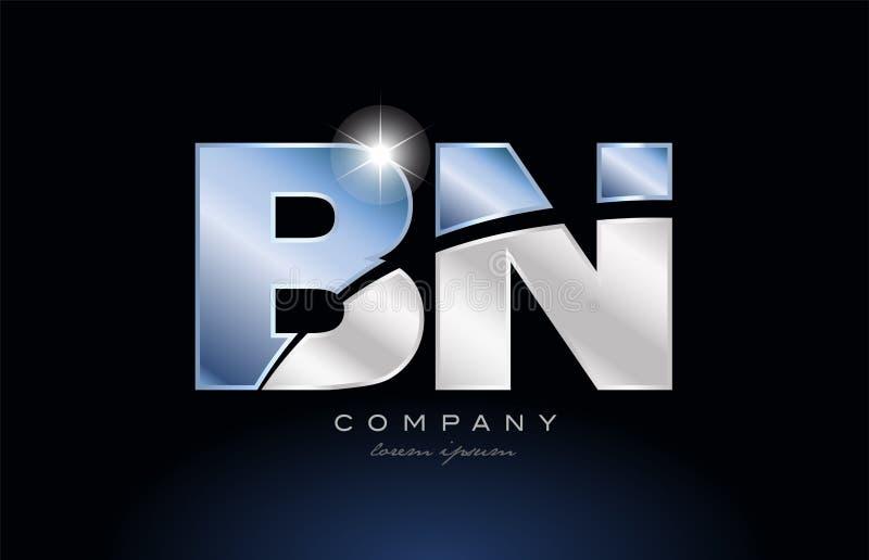 metal blue alphabet letter bn b n logo company icon design vector illustration