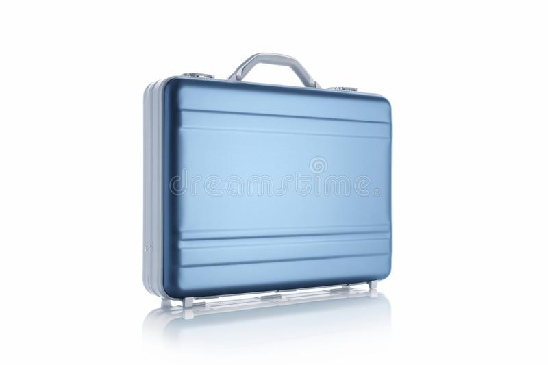 Metal blue briefcase isolated on the white background stock photography