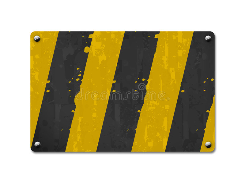 Metal board, sign board. Striped board in white background vector illustration