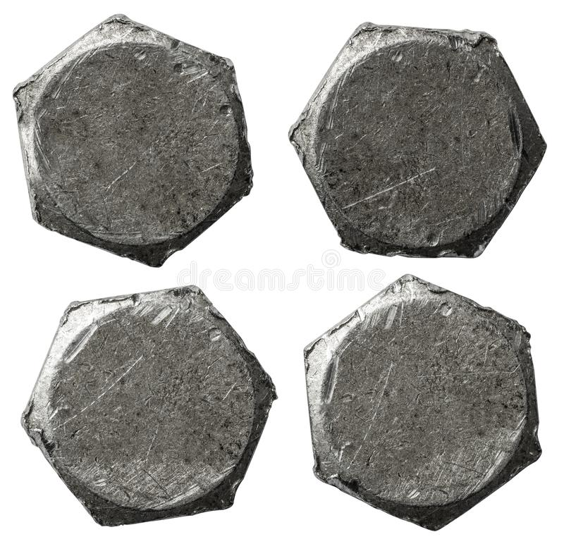 Metal bolt heads set isolatedbackground on white. Good for your collages stock image