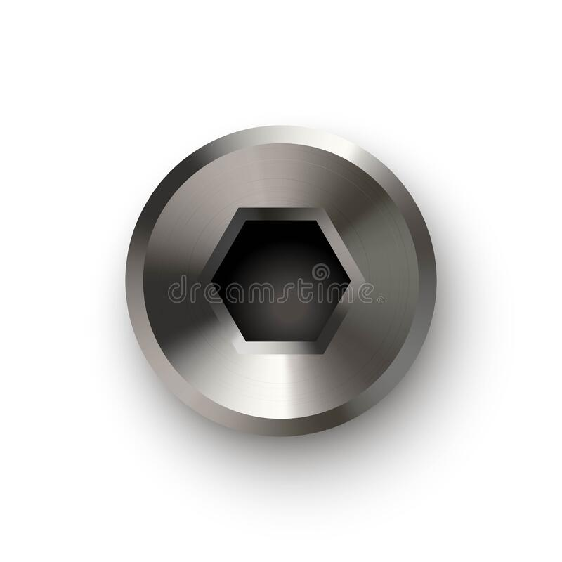 Free Metal Bolt Or Screw Head, Steel Hexagon Rivet. Silver Or Chrome Shiny Cap Or Screwhead Vector Illustration. Round Small Royalty Free Stock Photography - 214229247