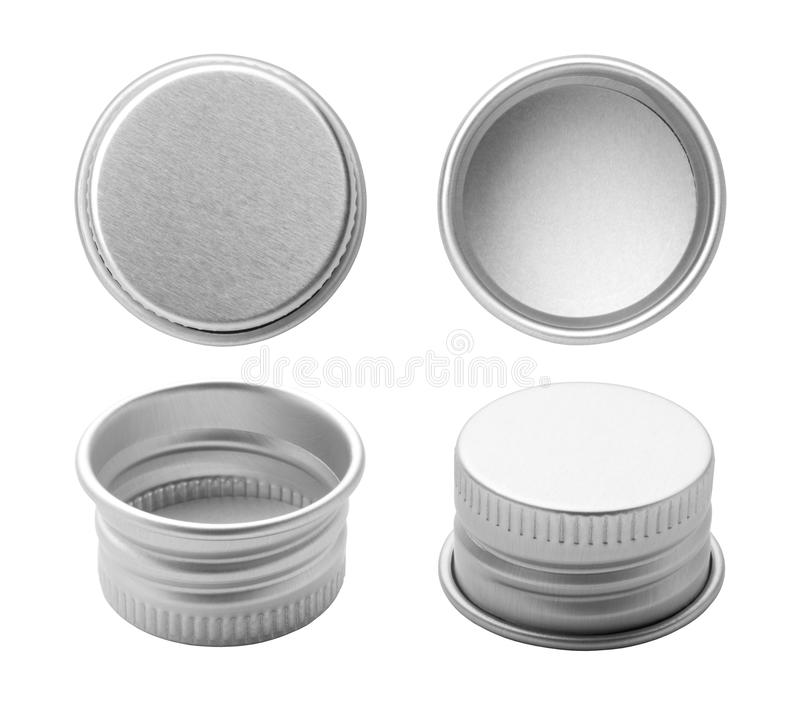 Metal bottle caps. Isolated on white background royalty free stock photography