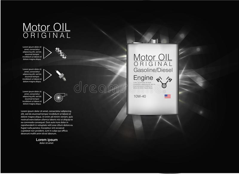 Metal bottle engine oil background, vector illustration. royalty free illustration