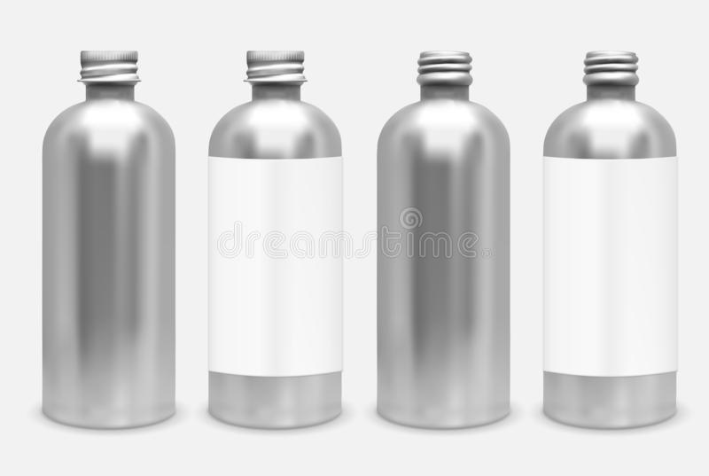 Metal bottle with lid. Mock up stock illustration
