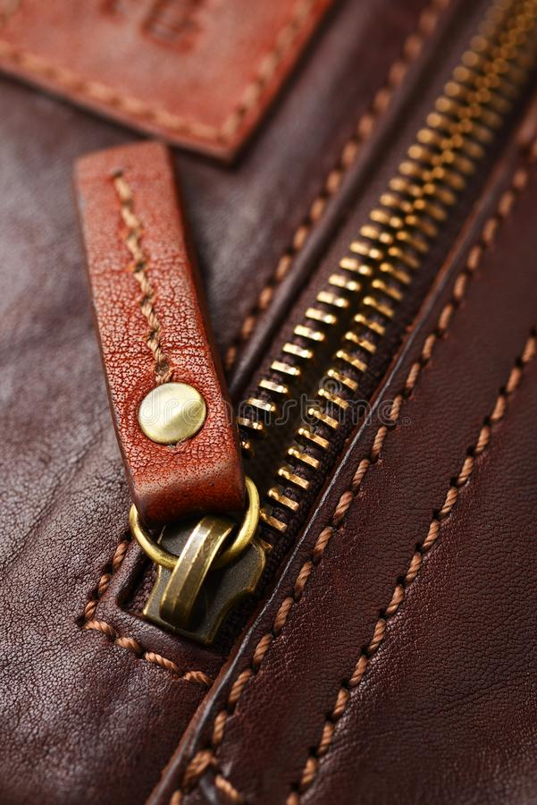 Metal brass zipper royalty free stock photo