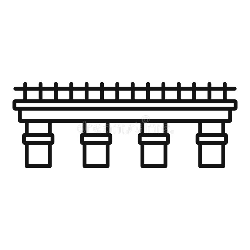 Metal bridge icon, outline style vector illustration