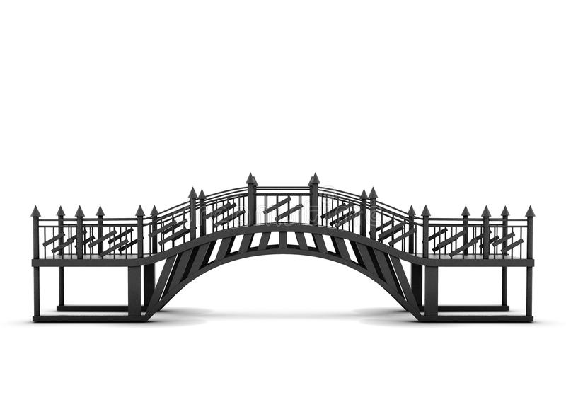Metal bridge isolated on a white background. 3d rendering.  royalty free illustration