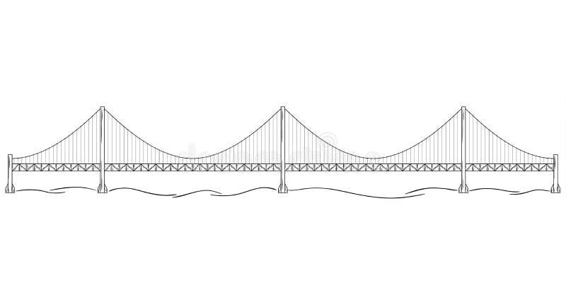 Metal bridge over river, sketch stock illustration