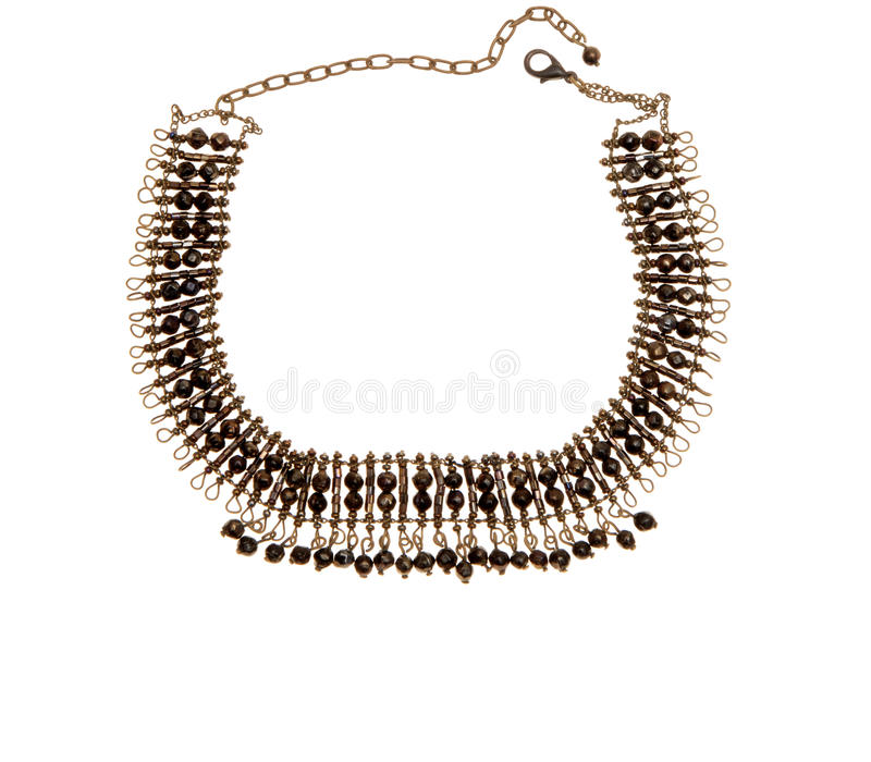 Metal brown necklace royalty free stock photography