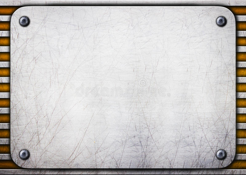 Metal brushed plate on iron perforated background royalty free illustration