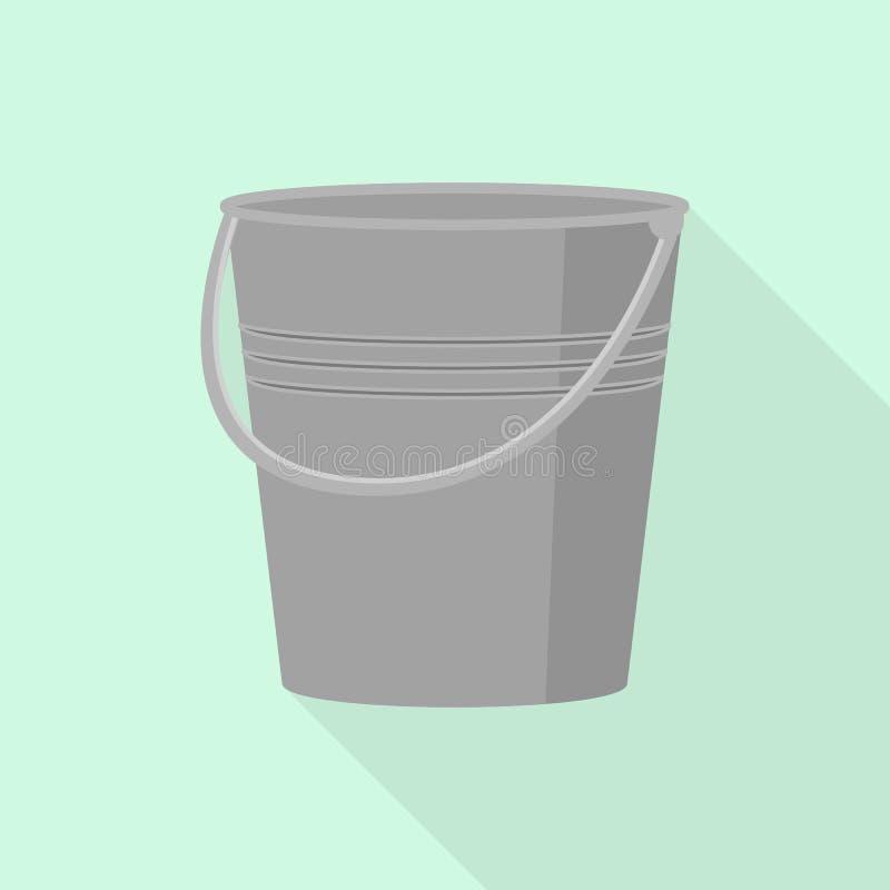 Metal bucket icon, flat style. Metal bucket icon. Flat illustration of metal bucket vector icon for web design vector illustration