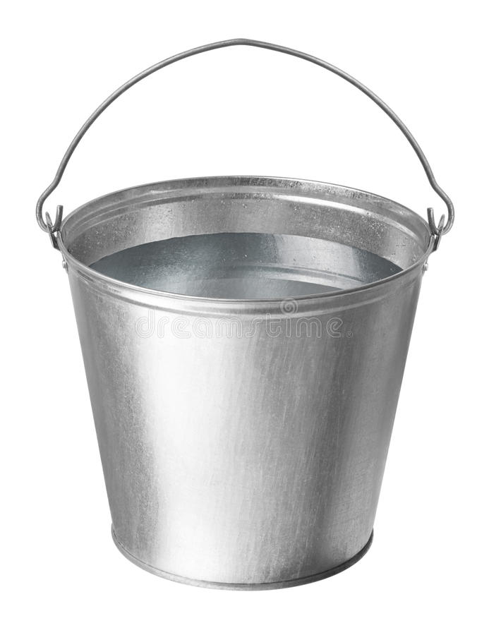 Metal bucket with water stock image