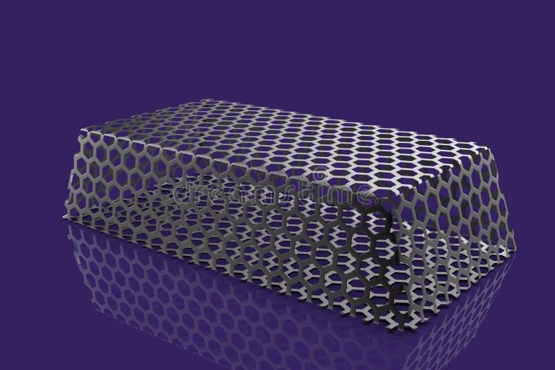 Metal bullion 3D. Render on blue background royalty free illustration