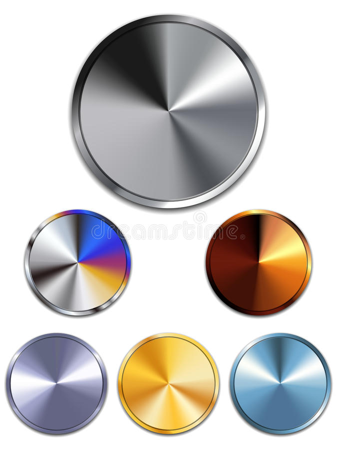 Download Metal Buttons. Silver, Gold, Copper Stock Vector - Image: 25421731