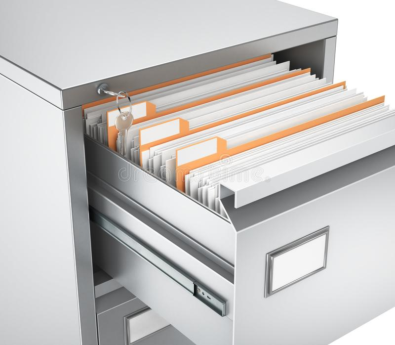 Metal cabinet, drawer with documents. 3d illustration vector illustration