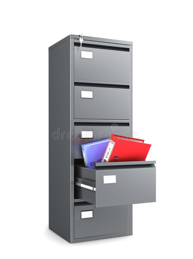 Metal cabinet with an open drawer from which folders for paper are kept. 3d illustration vector illustration