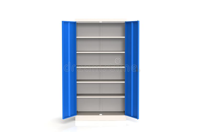 Metal cabinet with shelves for tools. Fireproof shelving for documents. 3D model rendering. royalty free illustration