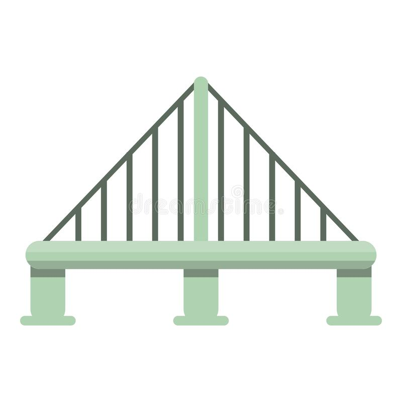 Metal cable bridge icon, cartoon style royalty free illustration