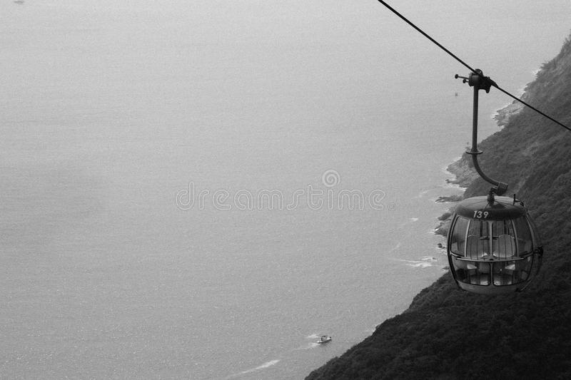 Metal Cable Car Going Up Grayscale Photo Free Public Domain Cc0 Image