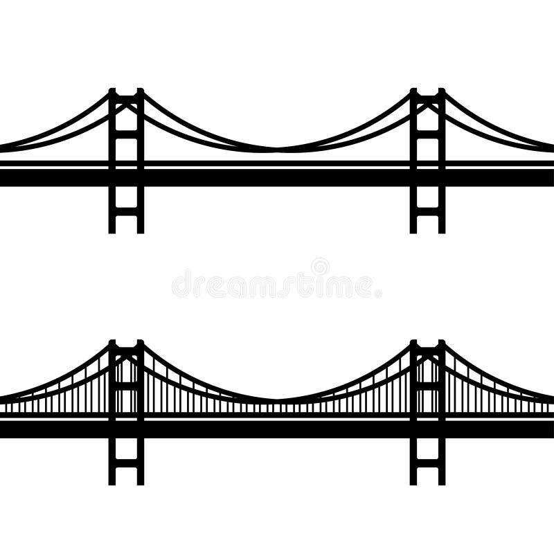 metal cable suspension bridge black symbol stock vector
