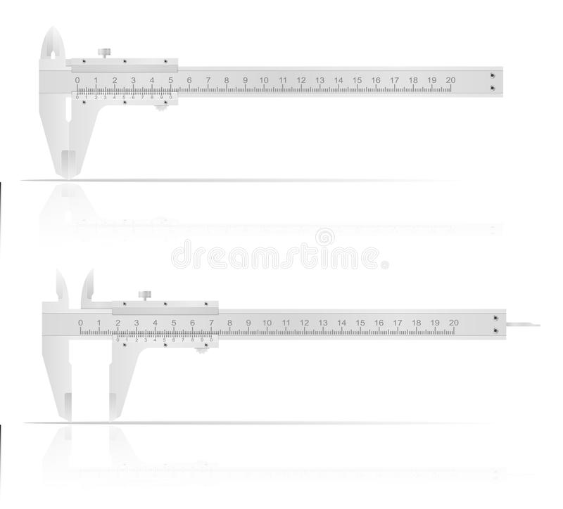 Metal caliper for accurate measurements vector illustration. Isolated on white background vector illustration