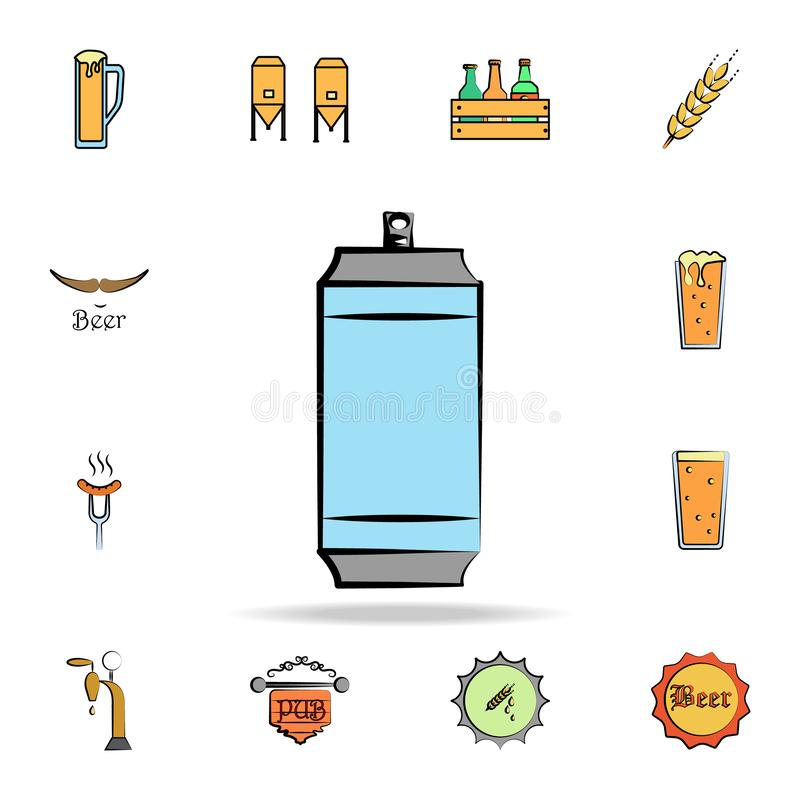 Metal can colored sketch style icon. Detailed set of color beer in hand drawn style icons. Premium graphic design. One of the. Collection icons for websites stock illustration