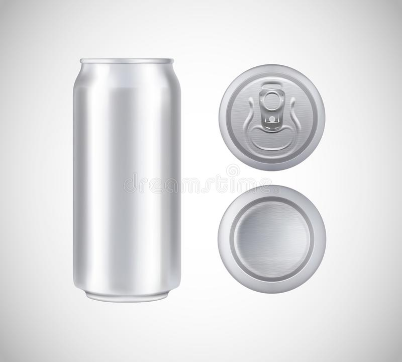 Metal can top, front, bottom view. Can vector visual 500 ml. For beer, lager, alcohol, soft drinks, soda advertising royalty free illustration