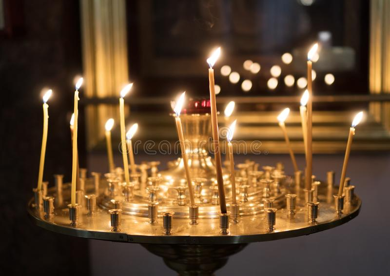 Metal candle light. royalty free stock photography