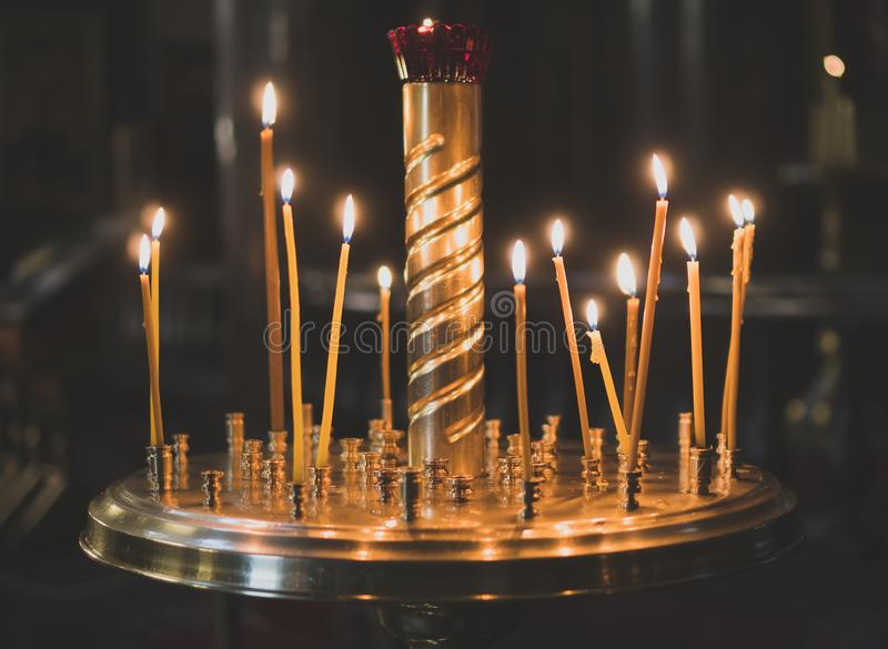 Metal candle light cresset. stock image