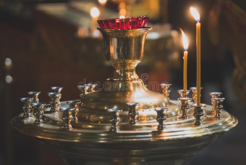 Metal candle light. stock photography