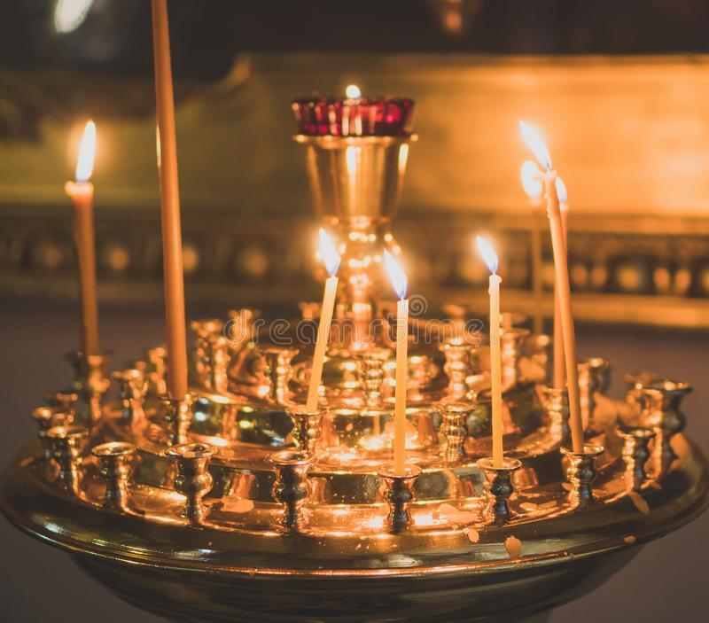 Metal candle light. stock images