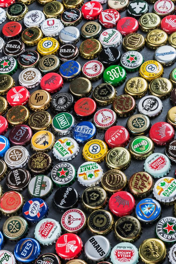 metal caps from different drinks, from beer, soda, cola, mineral water stock photo