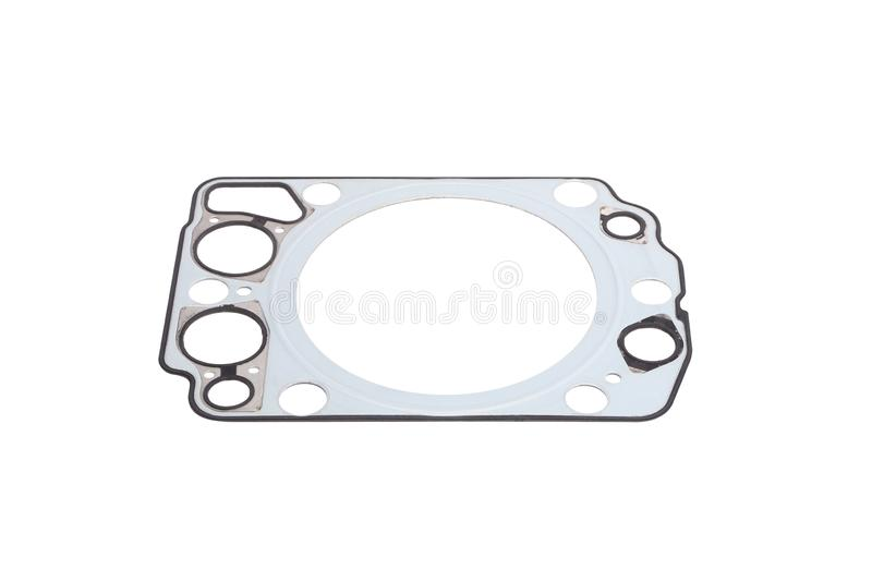 Metal car gasket. With rubber rings isolated on white background stock images