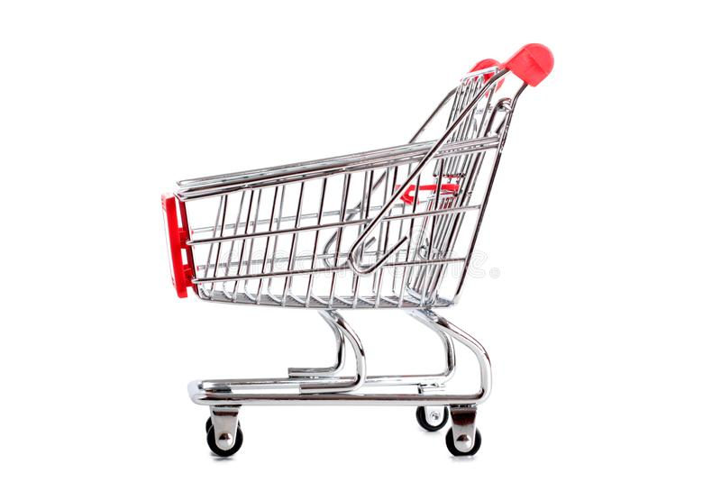 Metal cart one. Metal cart from store on a white background royalty free stock photo