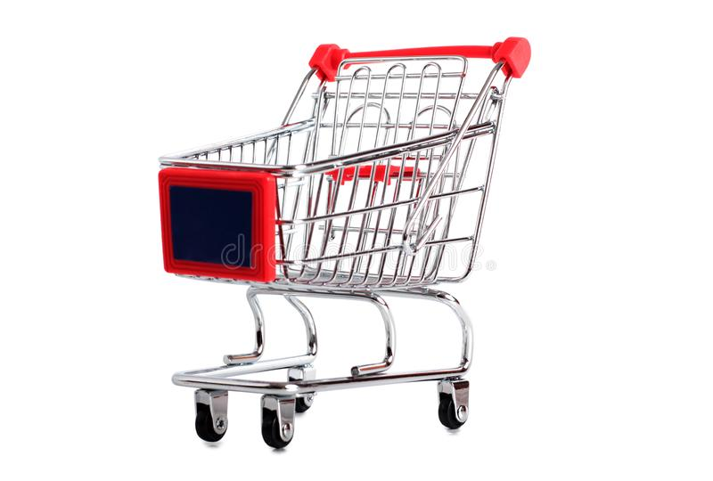 Metal cart two. Metal cart from store on a white background royalty free stock images